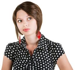 Thinking Lady in Polka Dots