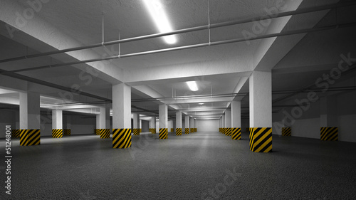 Empty dark underground parking abstract interior