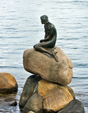 Sculpture of little mermaid in Copenhagen seafront