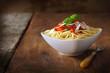 Italian spaghetti topped with a tomato sauce