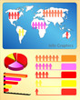 people and world map graph info-graphic