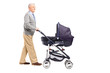 Full length portrait of a grandfather pushing his baby nephew in