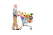 Full length potrait of a gentleman pushing a shopping cart full
