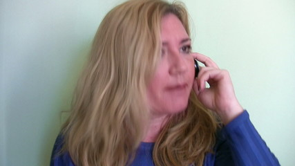 Nervous woman talking with customer service