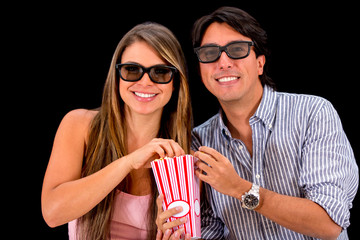 Couple watching movie in 3D