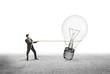 man pulling  lamp