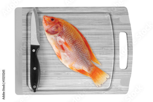 Fish on chopping board