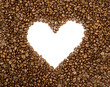 Heart frame background made of coffee beans