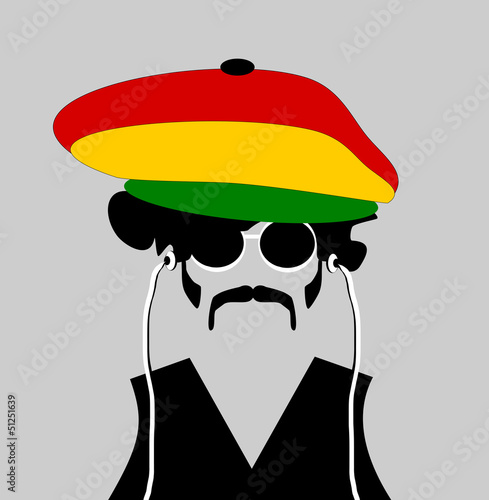 man wearing rastafarian hat and earphones