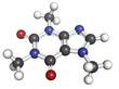 Caffeine, molecular model.