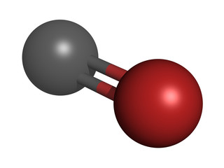 Carbon monoxide (CO), molecular model.