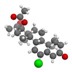 Cyproterone acetate (CPA) oral anticonceptive drug, molecular mo