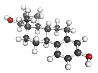 Estradiol female sex hormone, molecular model.