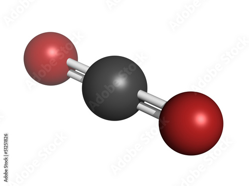 Carbon dioxide (CO2) , molecular model
