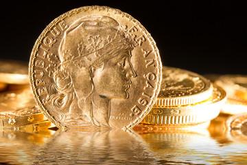 Twenty French Francs coins