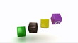 Blog writing on colored rotating cubes. Footage 1080p