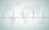 Rhythm of the Earth. ECG and a map of the world.