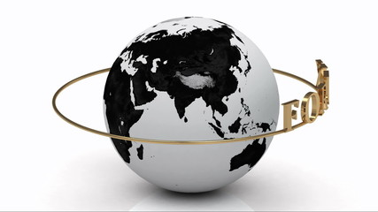 Revolving around the earth gold lettering FOREX on a gold ring