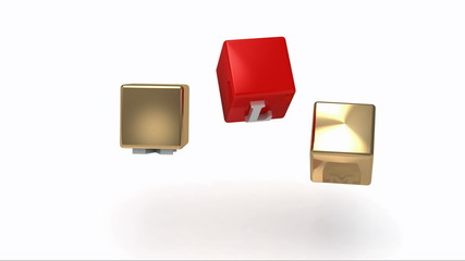 MLM inscription white letters on gold and red cubes rotating