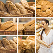 collage of assortment of baked bread in basket. series