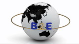Revolving around the earth lettering B2E on a gold ring. Footage poster