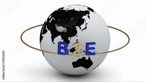 Revolving around the earth lettering B2E on a gold ring. Footage