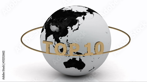 Rotating earth and the inscription gold lettering TOP 10