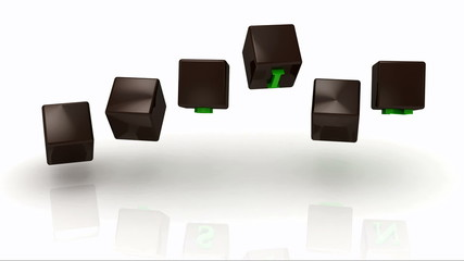 VISION inscription bright green letters on brown rotating cubes