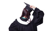 back view of graduate student girl thinking