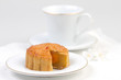 Moon cake served with tea