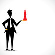 red chess in businessmen hand stock vector