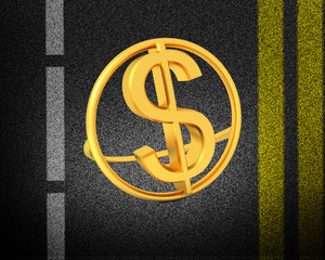 Asphalt abstract background with 3d text gold dollar icon