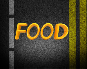 "Asphalt abstract background with 3d text ""Food"""