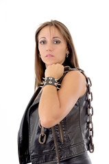 Womans holding a chain, with leather bracelet