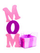 Mothers Day gift box with foam letters spelling MOM