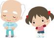体操するおじいさんと女の子
