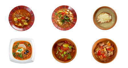 russian traditional soups. collage