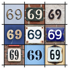 Collage of House Numbers Sixty-nine
