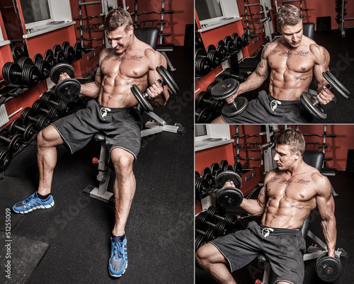 Shirtless bodybuilder is having hard workout with heavy weights