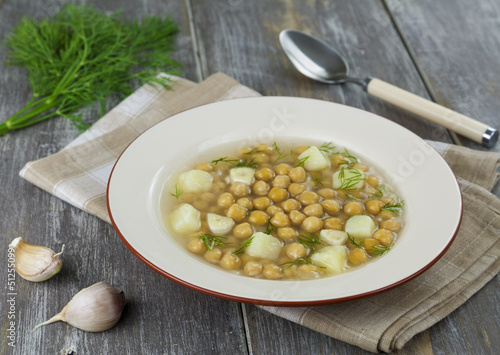 Soup with chickpeas and potatoes