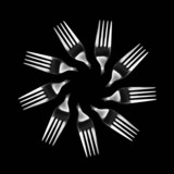 Kaleidoscopic pattern of isolated fork