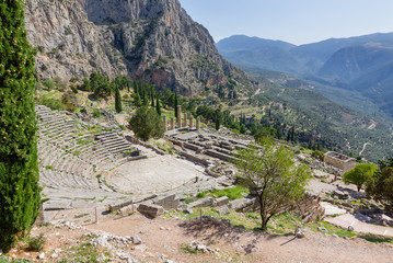 Ancient Delphi theater and Apollo temple, Greece