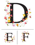 Decorative super caps letters D, E, F,