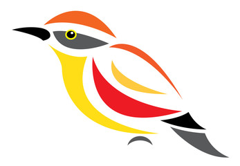 Vector image of an bird on white background