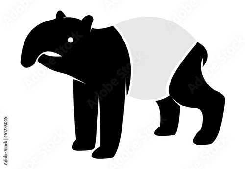 Vector image of an tapir on white background
