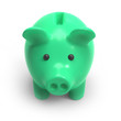 Green piggy bank front view