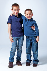 Two Little Brothers in the Studio