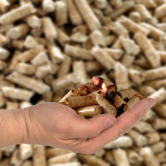 Hand mit brennenden Holzpellets