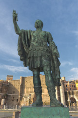 Rome Giant Emperor Bronze Statue near imperial forums