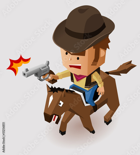 Poster Wild West Sheriff with Revolver riding Horse